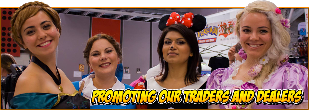 Promoting traders and dealers | Traders and dealers can advertise on the NOR-CON website! | Image of Ana, Belle, Minnie Mouse and Rapunzel cosplays