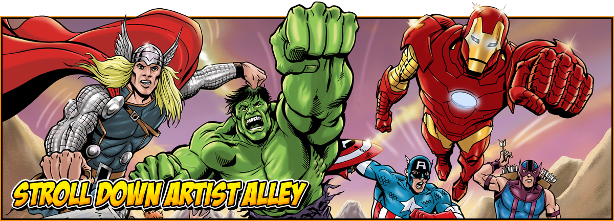 Stroll down artists alley | Image of the Avengers in Comic Book form - Thor, Hulk, Captain America, Iron Man and Hawkeye | feature image for NOR-CON comic book guests