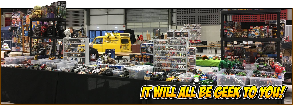 It will all be geek to you! | Exhibitors page feature image | Table full of merchandise and memorabilia
