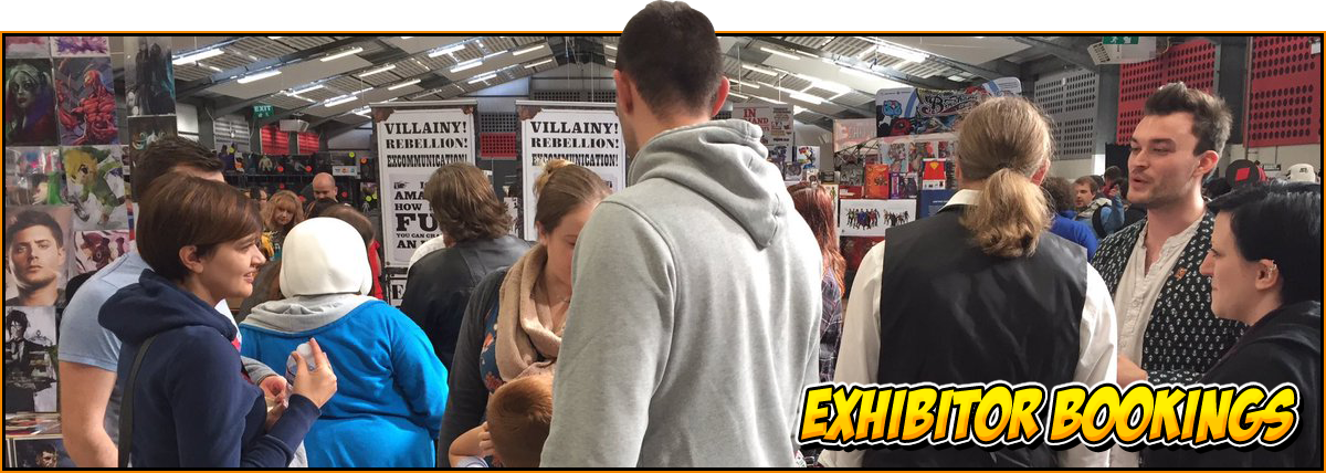 Exhibitor Bookings at NOR-CON Norfolk Film, TV & Comic Con | Image of people crammed around a merchandise stall