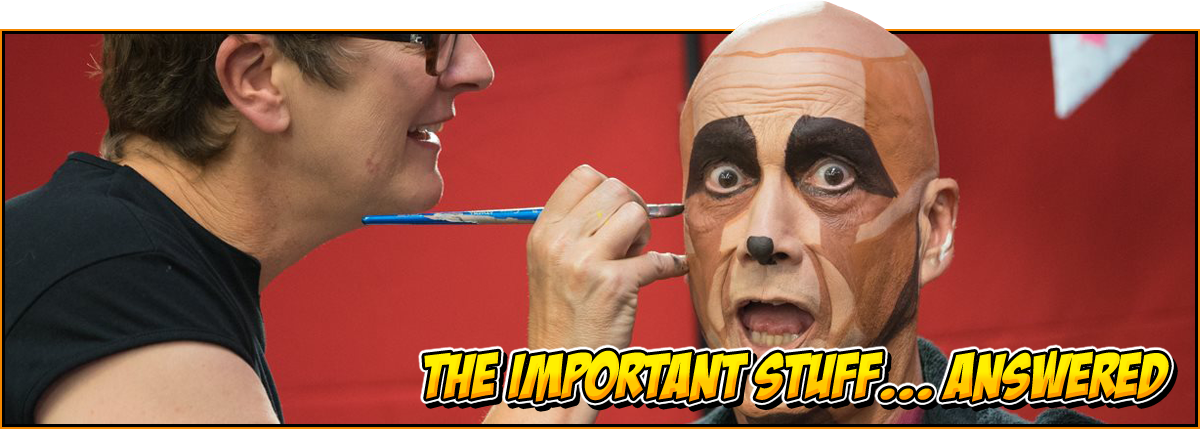 The important stuff... answered | feature image for the exhibitors FAQ at NOR-CON Norfolk Film, TV & Comic Con | Image of a man having his face apinted like Criton from 'Red Dwarf'