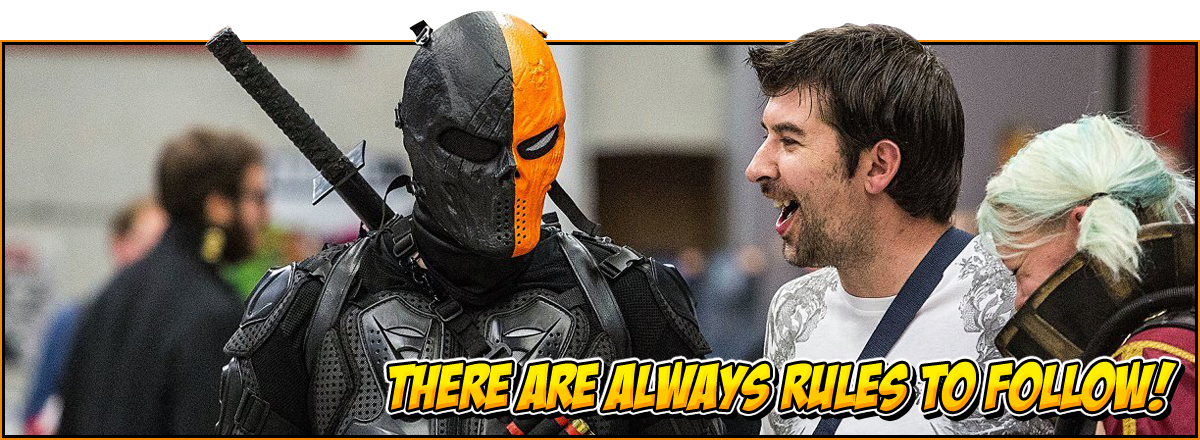 There are always rules to follow! | Feature image for the NOR-CON terms and conditions | Image of a Deathstroke cosplay in the NOR-CON exhibit hall