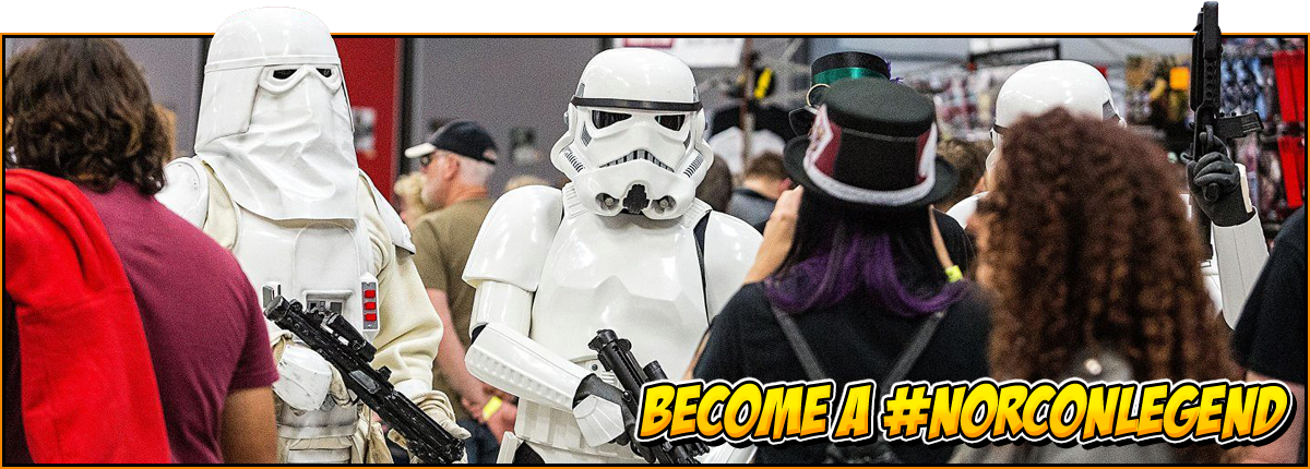 Become a #NorConLegend | Two storm troopers walk through the NOR-CON exhibition hall | NOR-CON gallery header